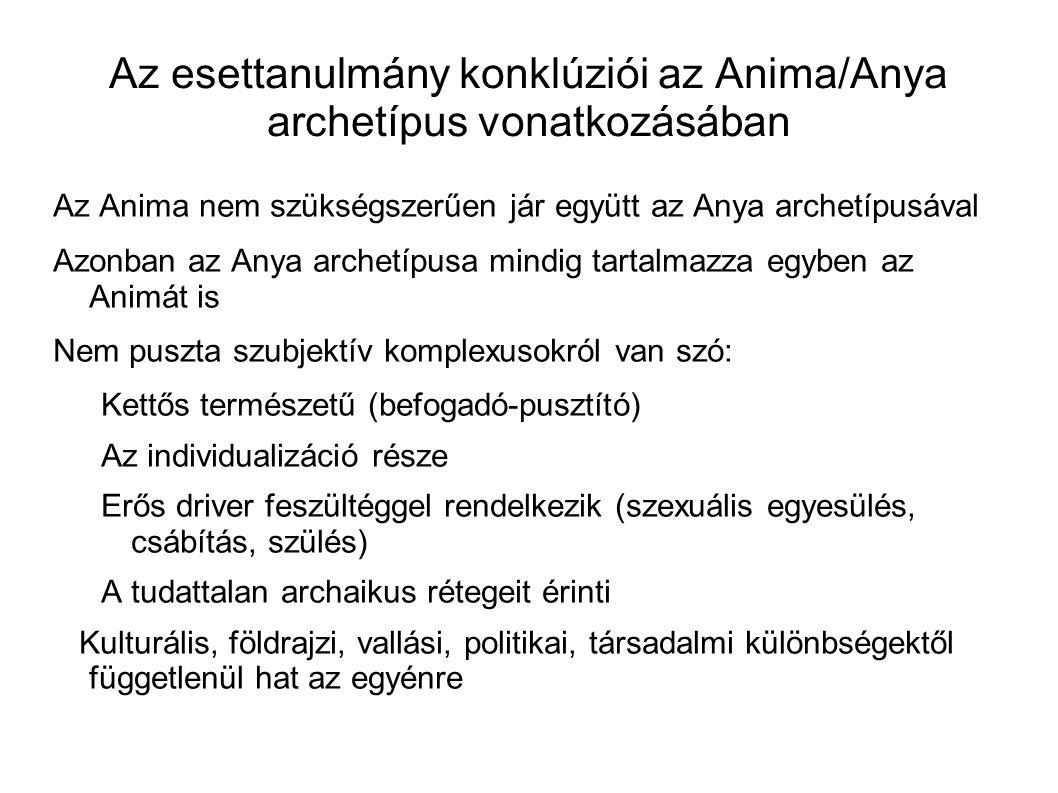 Az esettanulmány konklúziói az Anima/Anya archetípus vonatkozásában Az Anima nem szükségszerűen jár együtt az Anya archetípusával Azonban az Anya arch