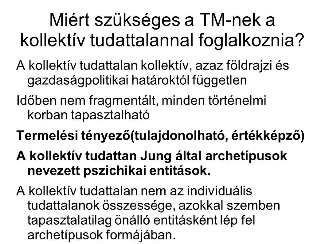 Miért szükséges a TM-nek a kollektív tudattalannal foglalkoznia? A kollektív tudattalan kollektív, azaz földrajzi és gazdaságpolitikai határoktól függ