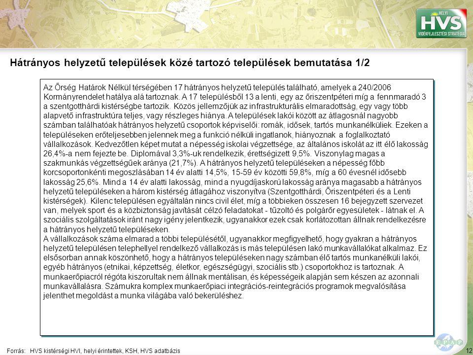 12 Az Őrség Határok Nélkül térségében 17 hátrányos helyzetű település található, amelyek a 240/2006 Kormányrendelet hatálya alá tartoznak. A 17 telepü