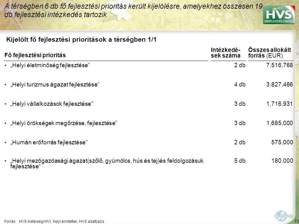 73 Kijelölt fő fejlesztési prioritások a térségben 1/1 A térségben 6 db fő fejlesztési prioritás került kijelölésre, amelyekhez összesen 19 db fejlesz