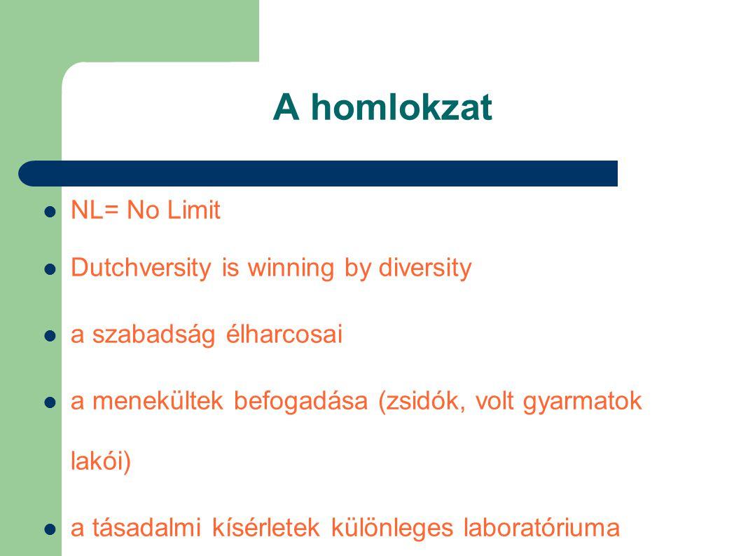A homlokzat  NL= No Limit  Dutchversity is winning by diversity  a szabadság élharcosai  a menekültek befogadása (zsidók, volt gyarmatok lakói)  a tásadalmi kísérletek különleges laboratóriuma