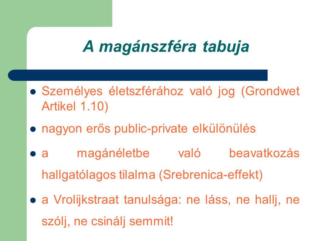 A magánszféra tabuja  Személyes életszférához való jog (Grondwet Artikel 1.10)  nagyon erős public-private elkülönülés  a magánéletbe való beavatko