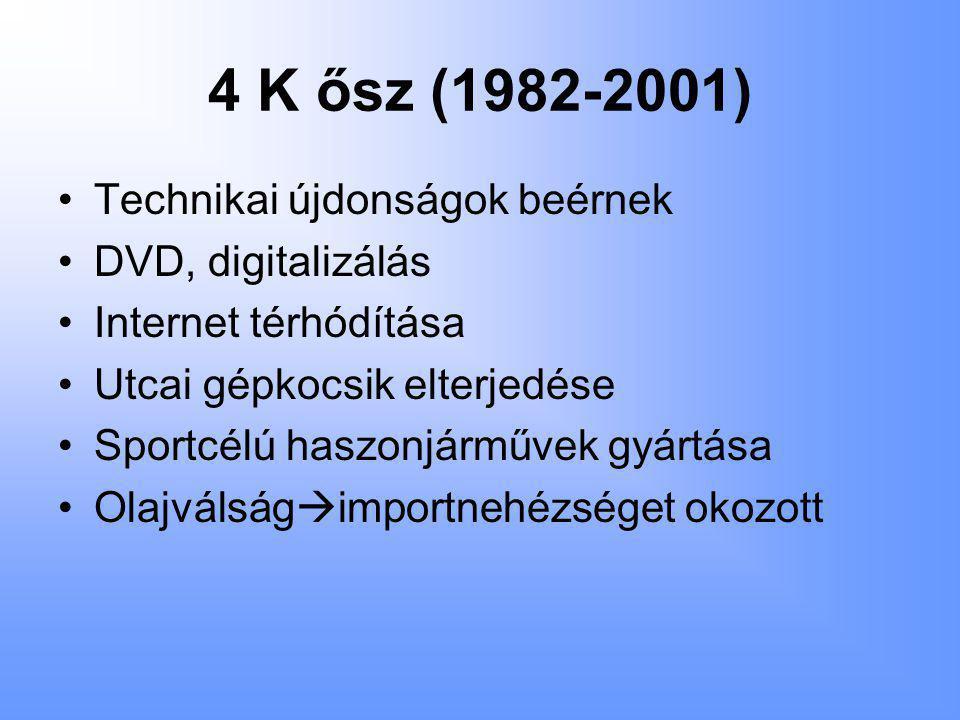 4 K ősz (1982-2001) •Technikai újdonságok beérnek •DVD, digitalizálás •Internet térhódítása •Utcai gépkocsik elterjedése •Sportcélú haszonjárművek gyártása •Olajválság  importnehézséget okozott