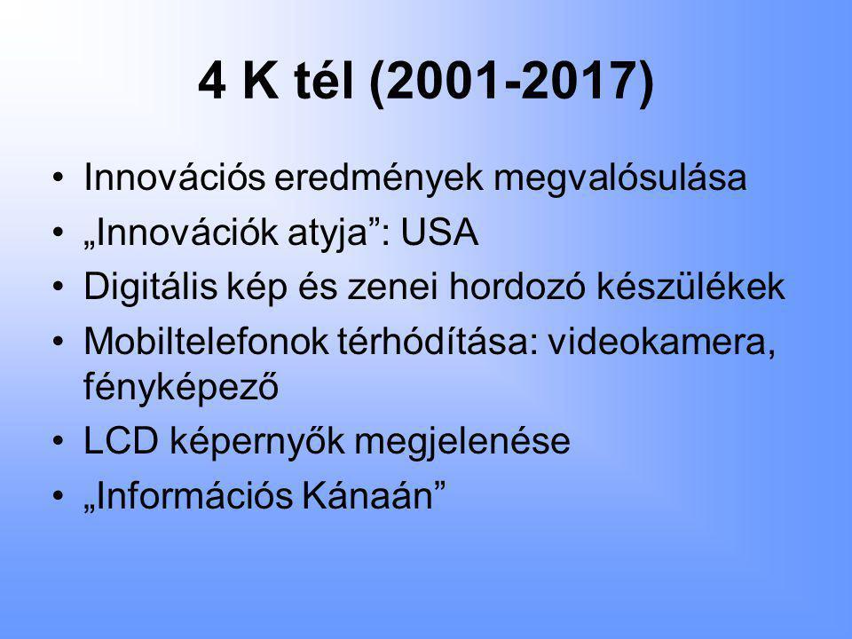 """4 K tél (2001-2017) •Innovációs eredmények megvalósulása •""""Innovációk atyja : USA •Digitális kép és zenei hordozó készülékek •Mobiltelefonok térhódítása: videokamera, fényképező •LCD képernyők megjelenése •""""Információs Kánaán"""