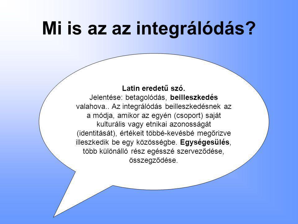 Mi is az az integrálódás.Latin eredetű szó. Jelentése: betagolódás, beilleszkedés valahova..
