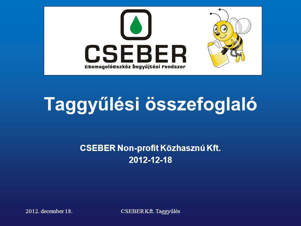 Taggyűlési összefoglaló CSEBER Non-profit Közhasznú Kft.