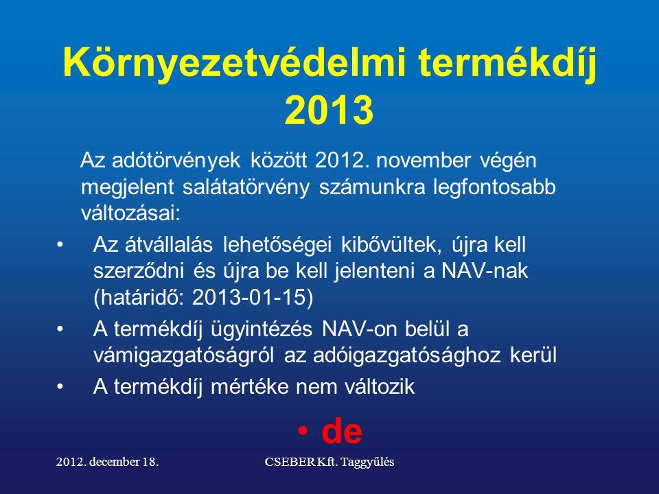 Környezetvédelmi termékdíj 2013 Az adótörvények között 2012.