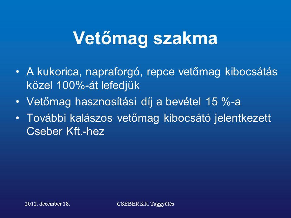 2012. december 18.CSEBER Kft. Taggyűlés 2013. március 26-án 10 éves lesz a CSEBER!