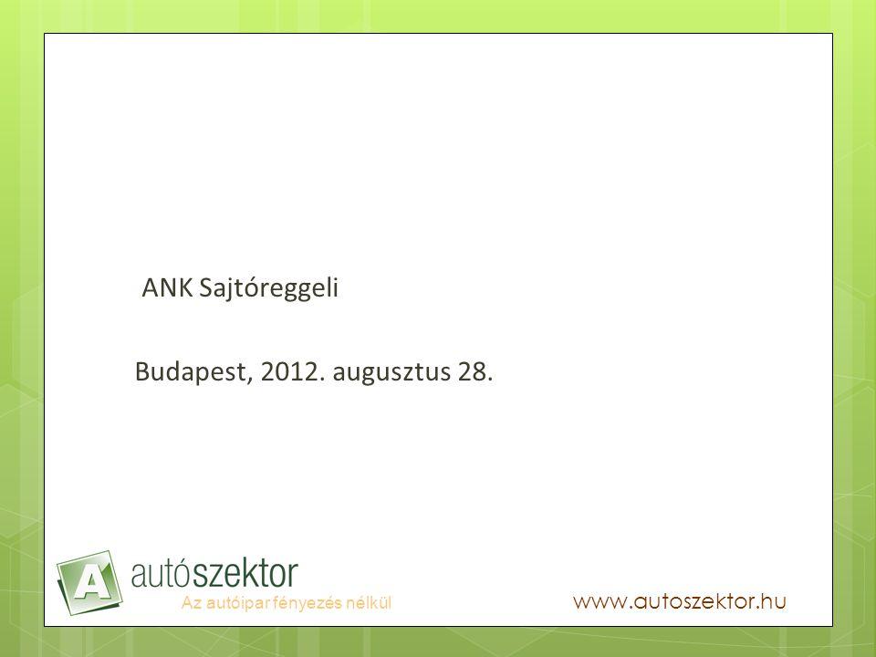 Az autóipar fényezés nélkül www.autoszektor.hu ANK Sajtóreggeli Budapest, 2012. augusztus 28.