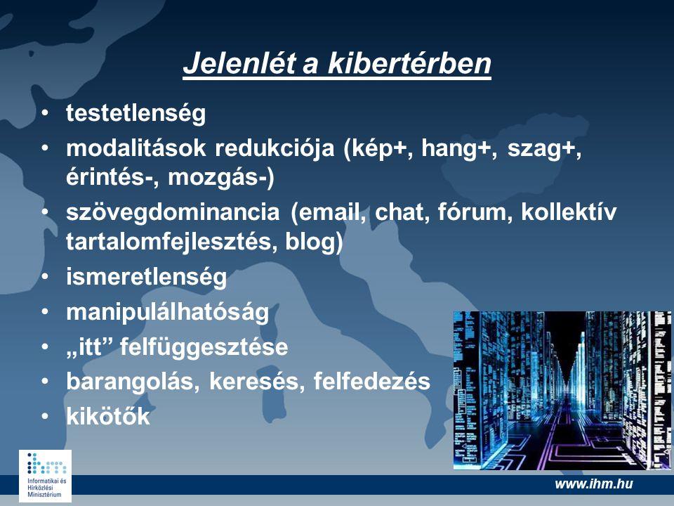 www.ihm.hu Jelenlét a kibertérben •testetlenség •modalitások redukciója (kép+, hang+, szag+, érintés-, mozgás-) •szövegdominancia (email, chat, fórum,