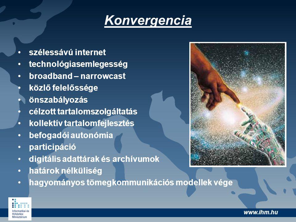 www.ihm.hu •szélessávú internet •technológiasemlegesség •broadband – narrowcast •közlő felelőssége •önszabályozás •célzott tartalomszolgáltatás •kolle