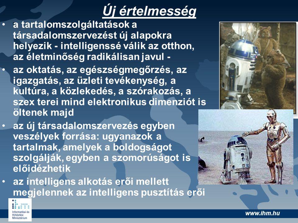 www.ihm.hu Új értelmesség •a tartalomszolgáltatások a társadalomszervezést új alapokra helyezik - intelligenssé válik az otthon, az életminőség radiká