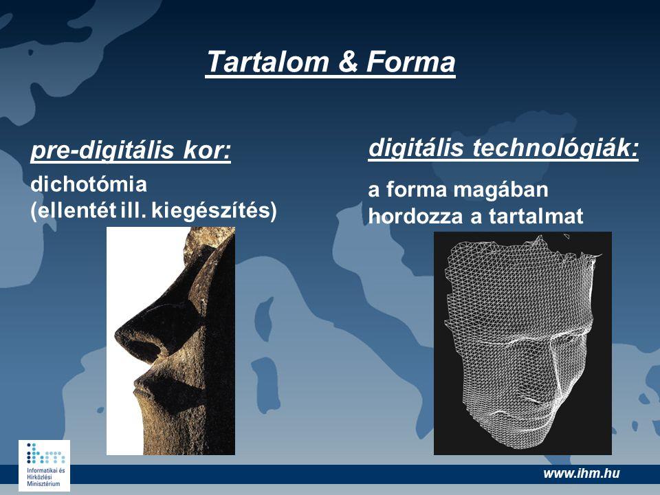 www.ihm.hu Tartalom & Forma pre-digitális kor: dichotómia (ellentét ill. kiegészítés) digitális technológiák: a forma magában hordozza a tartalmat