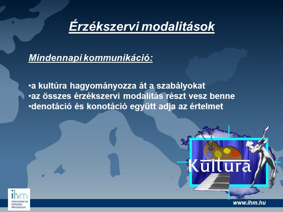 www.ihm.hu Érzékszervi modalitások Mindennapi kommunikáció: •a kultúra hagyományozza át a szabályokat •az összes érzékszervi modalitás részt vesz benn