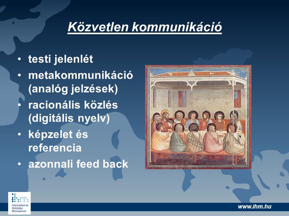 www.ihm.hu •testi jelenlét •metakommunikáció (analóg jelzések) •racionális közlés (digitális nyelv) •képzelet és referencia •azonnali feed back Közvet