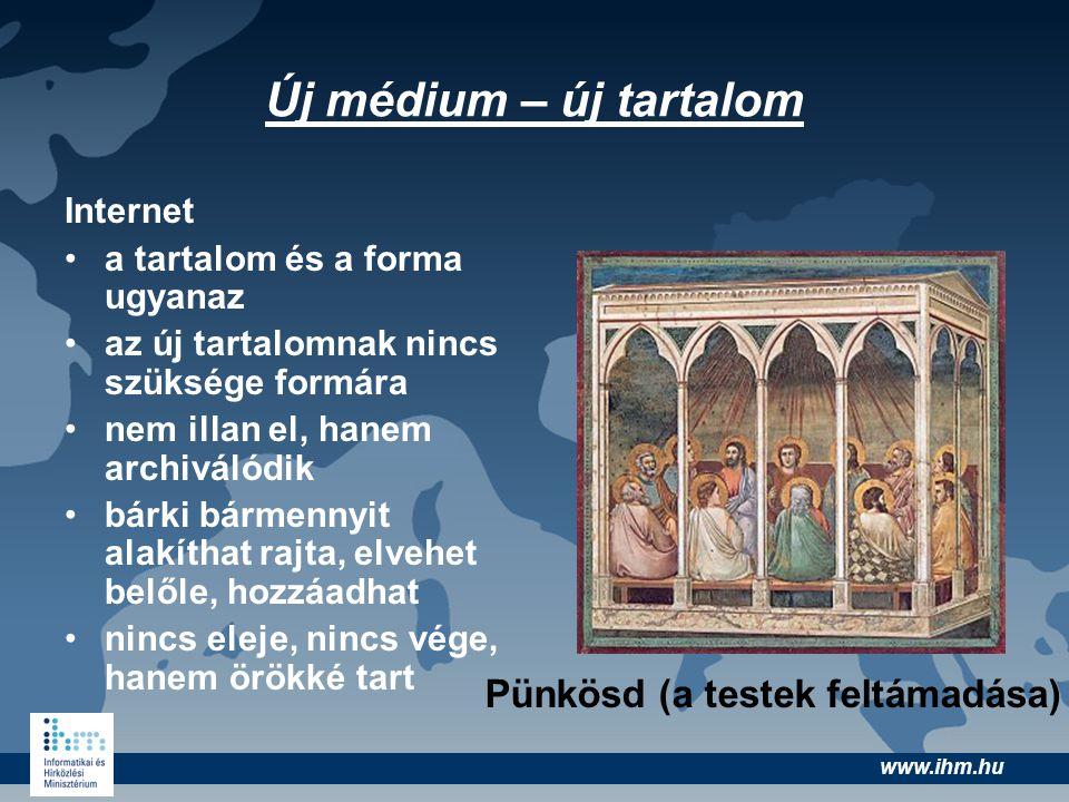 www.ihm.hu Új médium – új tartalom Internet •a tartalom és a forma ugyanaz •az új tartalomnak nincs szüksége formára •nem illan el, hanem archiválódik
