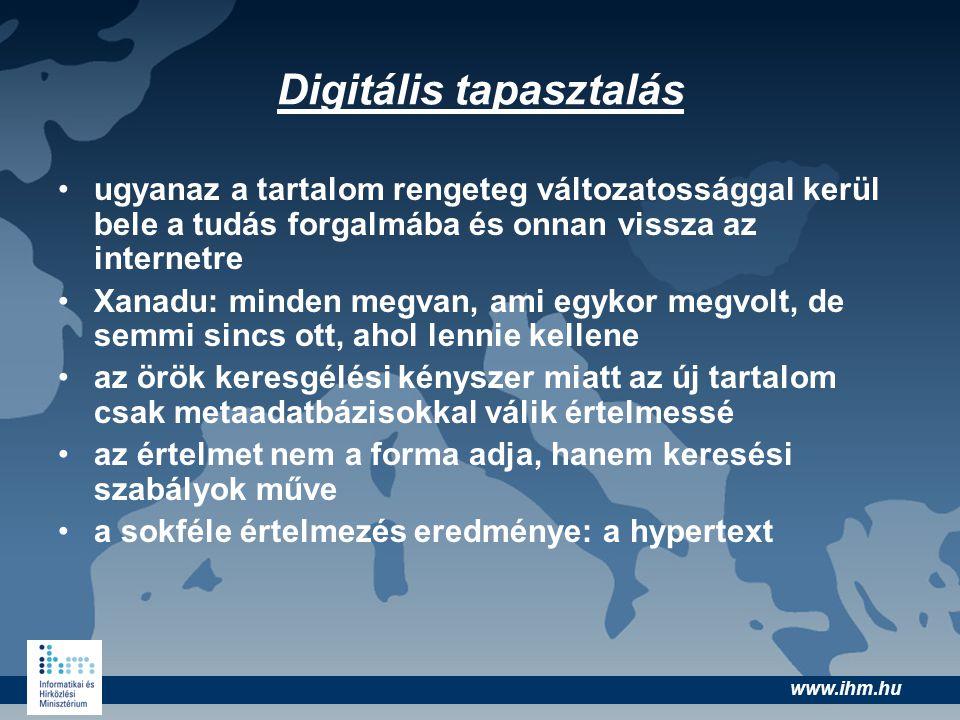 www.ihm.hu Digitális tapasztalás •ugyanaz a tartalom rengeteg változatossággal kerül bele a tudás forgalmába és onnan vissza az internetre •Xanadu: mi