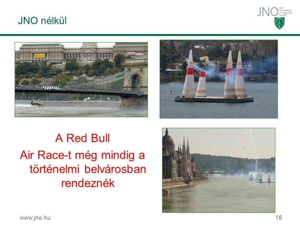 www.jno.hu16 JNO nélkül A Red Bull Air Race-t még mindig a történelmi belvárosban rendeznék
