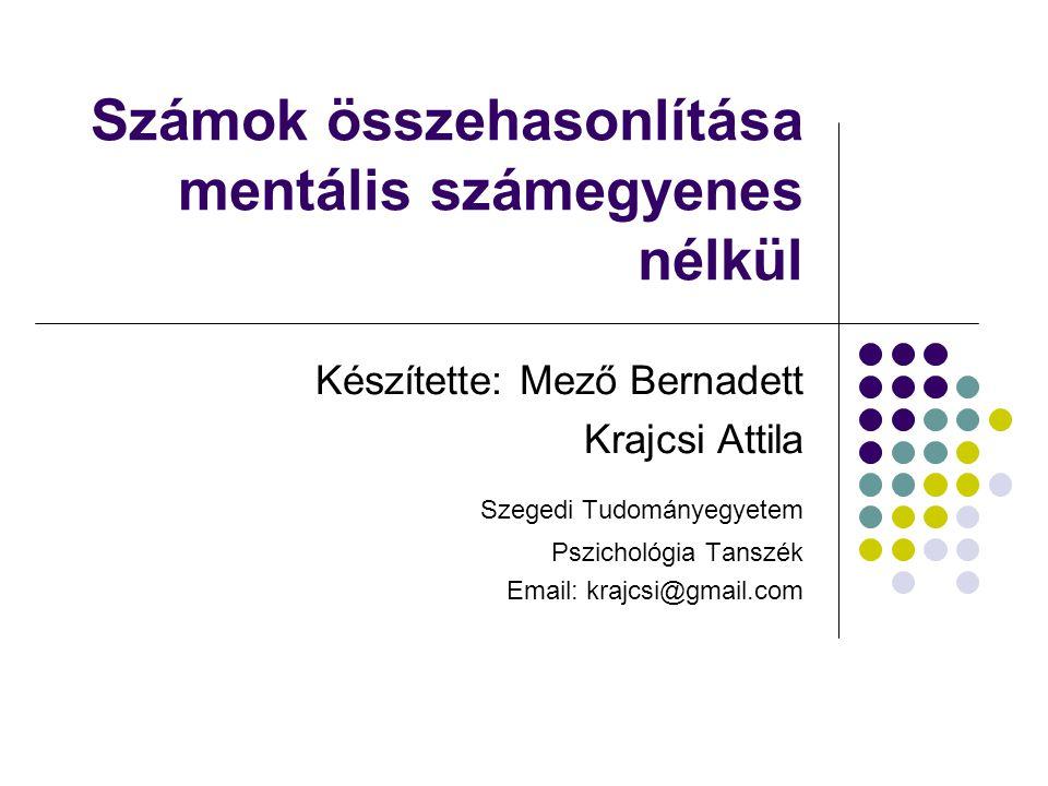 Számok összehasonlítása mentális számegyenes nélkül Készítette: Mező Bernadett Krajcsi Attila Szegedi Tudományegyetem Pszichológia Tanszék Email: kraj