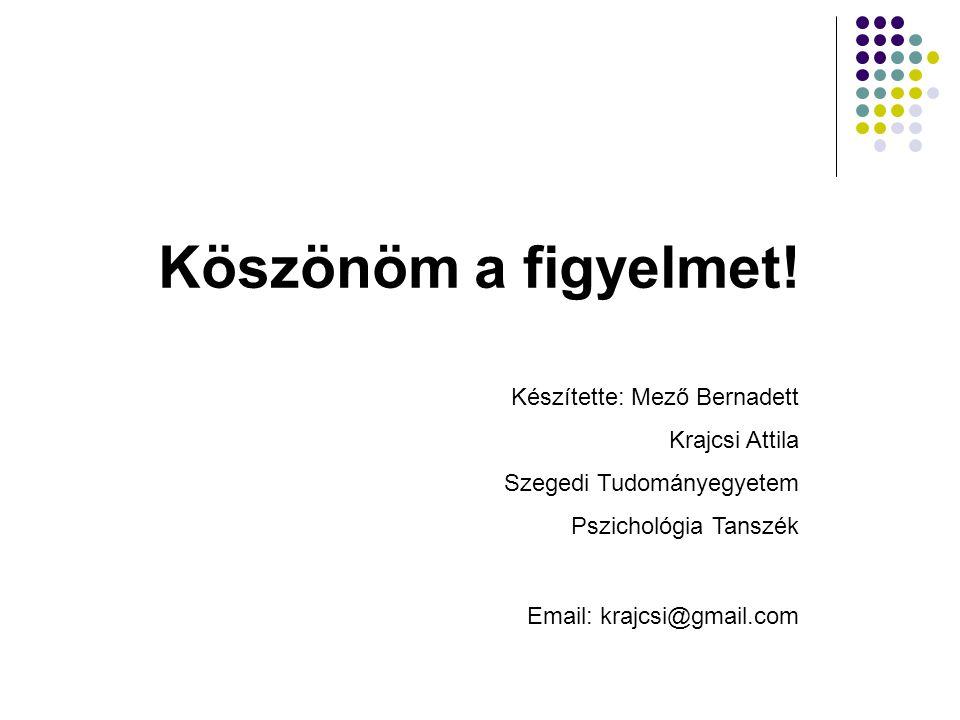 Köszönöm a figyelmet! Készítette: Mező Bernadett Krajcsi Attila Szegedi Tudományegyetem Pszichológia Tanszék Email: krajcsi@gmail.com