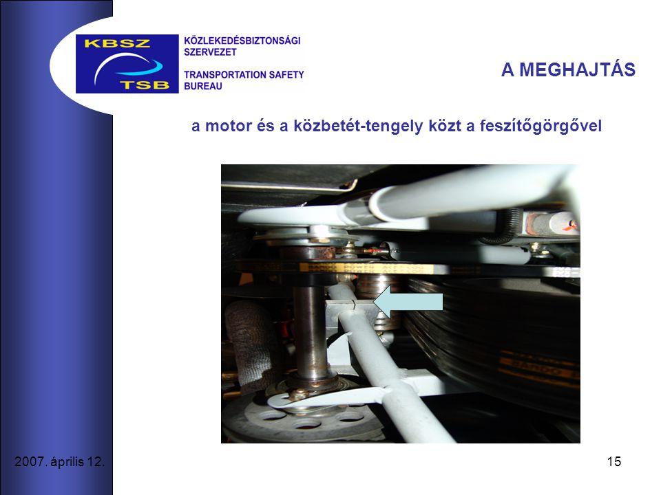 15 2007. április 12. A MEGHAJTÁS a motor és a közbetét-tengely közt a feszítőgörgővel