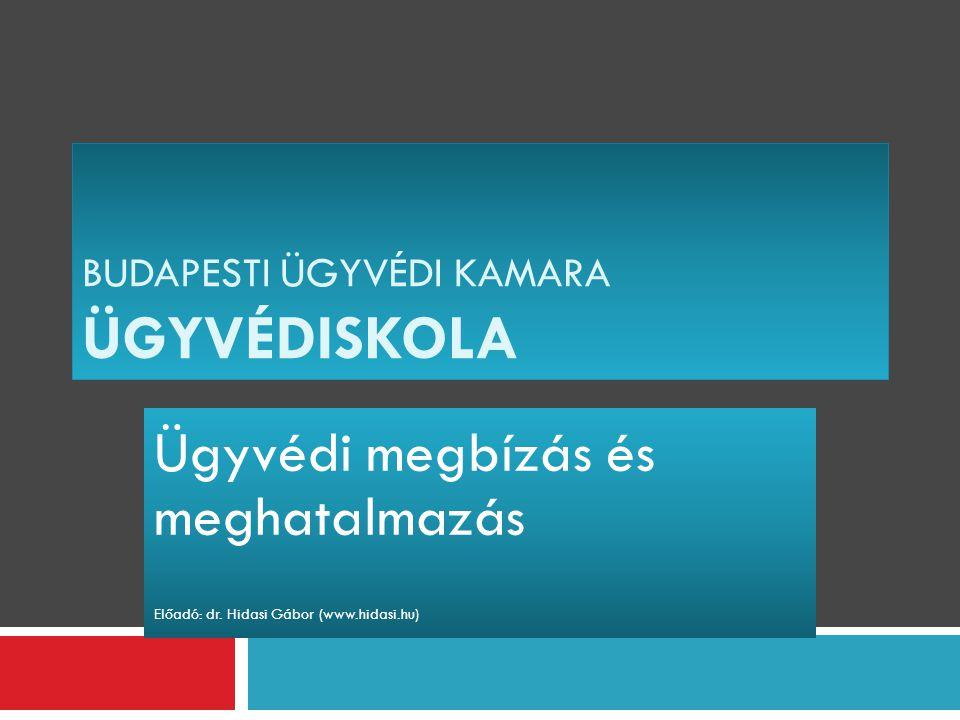 BUDAPESTI ÜGYVÉDI KAMARA ÜGYVÉDISKOLA Ügyvédi megbízás és meghatalmazás Előadó: dr. Hidasi Gábor (www.hidasi.hu)