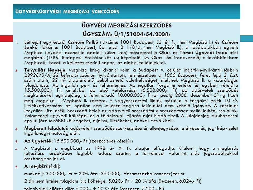 ÜGYVÉDISÜGYVÉDI MEGBÍZÁSI SZERZŐDÉS ÜGYVÉDI MEGBÍZÁSI SZERZŐDÉS ÜGYSZÁM: Ü/1/51004/54/2008/ 1. Létrejött egyrészről Csínom Palkó (lakcíme: 1001 Budape