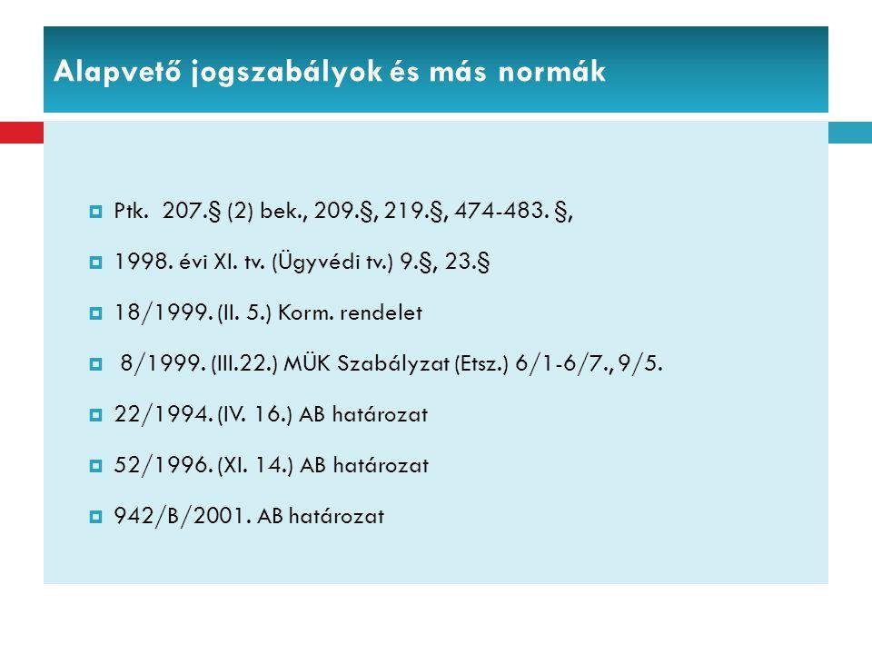 Alapvető jogszabályok és más normák  Ptk. 207.§ (2) bek., 209.§, 219.§, 474-483. §,  1998. évi XI. tv. (Ügyvédi tv.) 9.§, 23.§  18/1999. (II. 5.) K