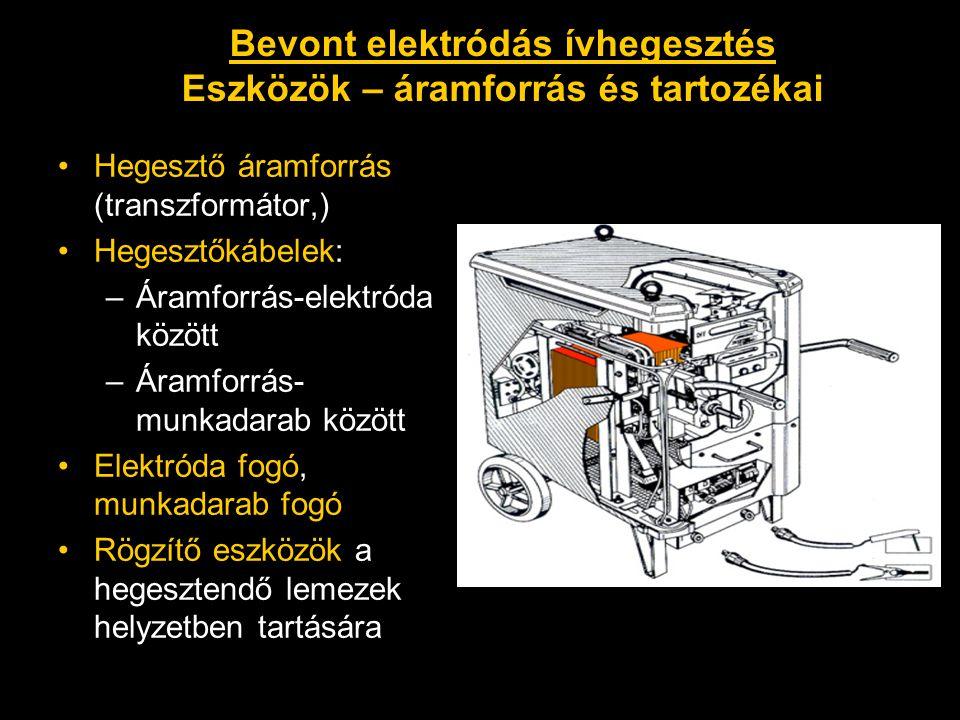 •Hegesztő áramforrás (transzformátor,) •Hegesztőkábelek: –Áramforrás-elektróda között –Áramforrás- munkadarab között •Elektróda fogó, munkadarab fogó