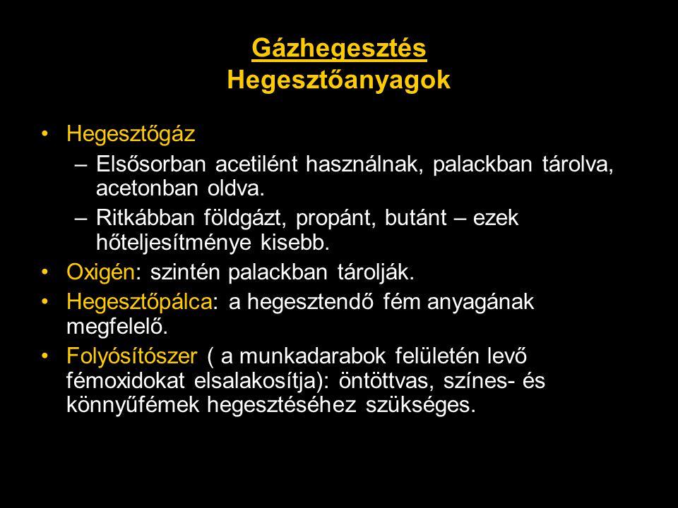 Gázhegesztés Hegesztőanyagok •Hegesztőgáz –Elsősorban acetilént használnak, palackban tárolva, acetonban oldva. –Ritkábban földgázt, propánt, butánt –