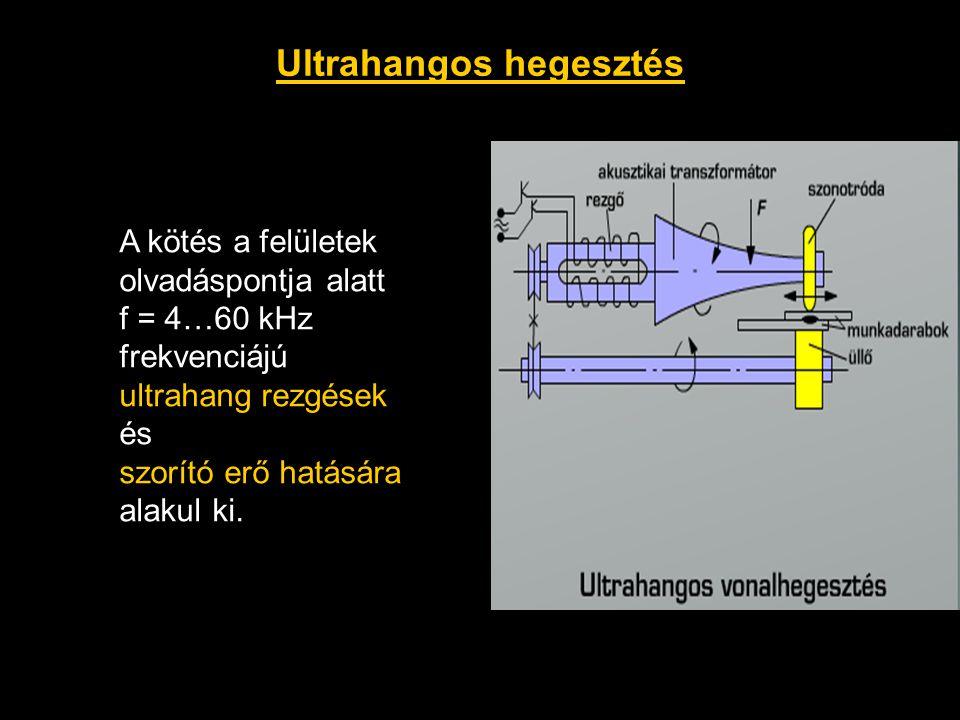 Ultrahangos hegesztés A kötés a felületek olvadáspontja alatt f = 4…60 kHz frekvenciájú ultrahang rezgések és szorító erő hatására alakul ki.