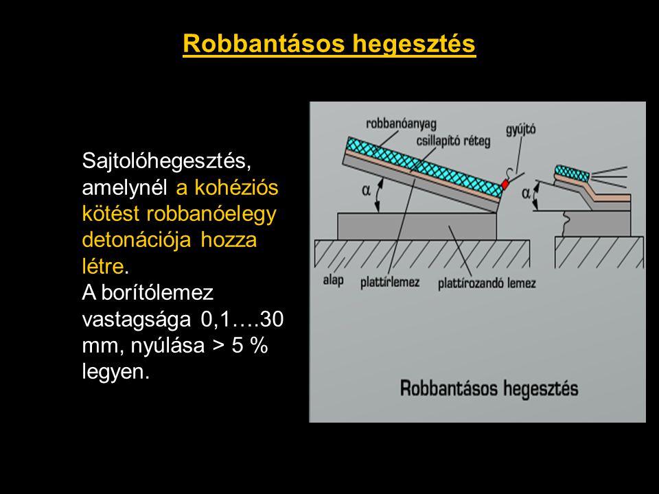 Robbantásos hegesztés Sajtolóhegesztés, amelynél a kohéziós kötést robbanóelegy detonációja hozza létre. A borítólemez vastagsága 0,1….30 mm, nyúlása