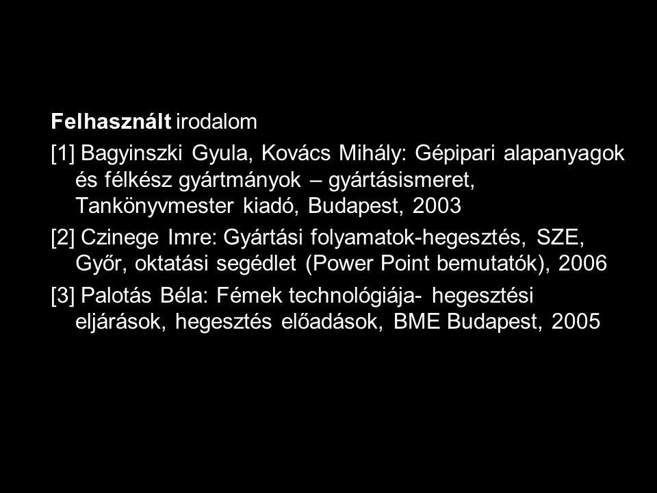 Felhasznált irodalom [1] Bagyinszki Gyula, Kovács Mihály: Gépipari alapanyagok és félkész gyártmányok – gyártásismeret, Tankönyvmester kiadó, Budapest