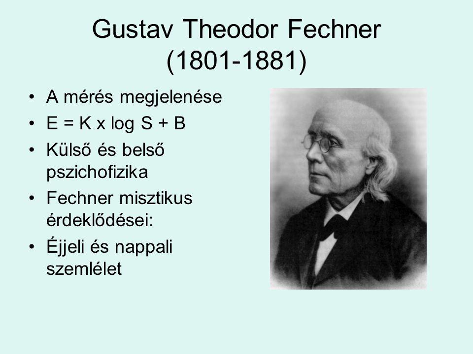 Gustav Theodor Fechner (1801-1881) •A mérés megjelenése •E = K x log S + B •Külső és belső pszichofizika •Fechner misztikus érdeklődései: •Éjjeli és nappali szemlélet