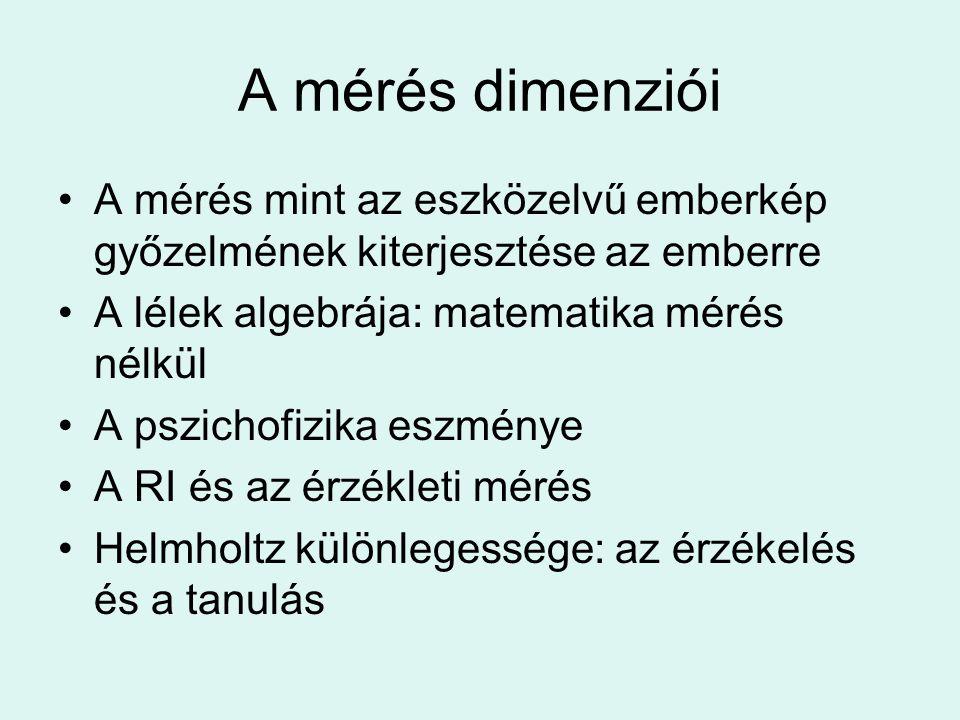A mérés dimenziói •A mérés mint az eszközelvű emberkép győzelmének kiterjesztése az emberre •A lélek algebrája: matematika mérés nélkül •A pszichofizika eszménye •A RI és az érzékleti mérés •Helmholtz különlegessége: az érzékelés és a tanulás