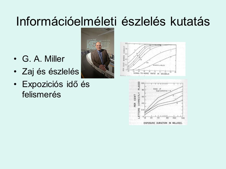 Információelméleti észlelés kutatás •G. A. Miller •Zaj és észlelés •Expoziciós idő és felismerés