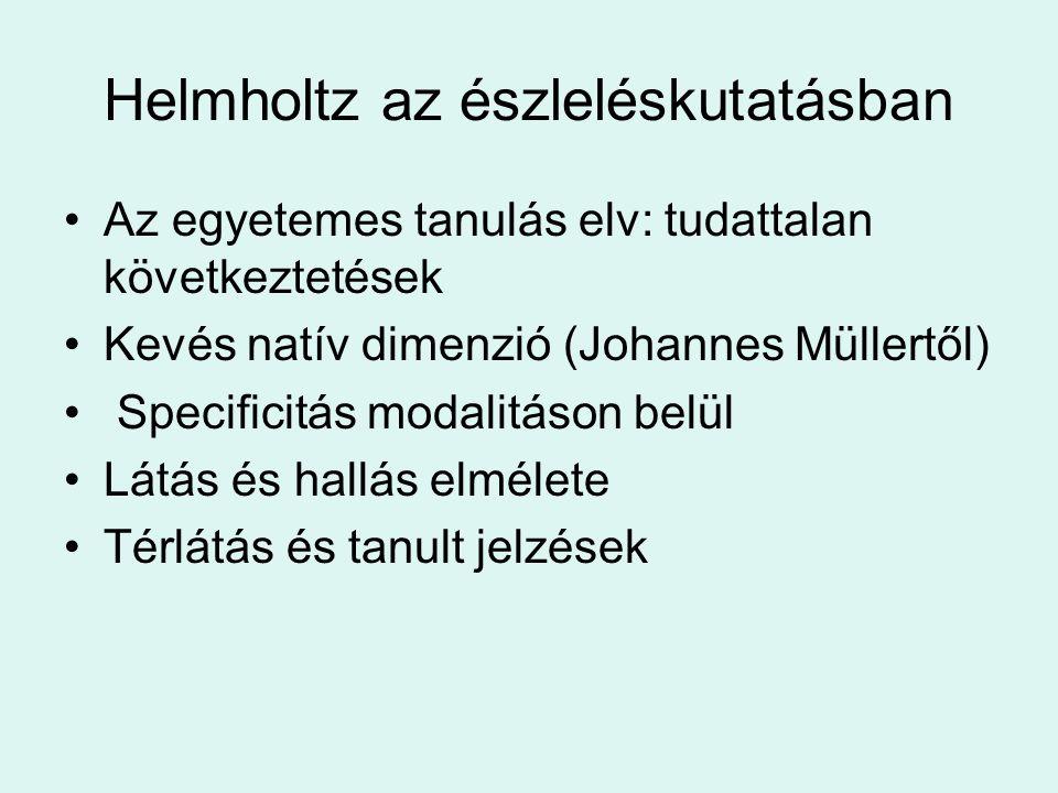 Helmholtz az észleléskutatásban •Az egyetemes tanulás elv: tudattalan következtetések •Kevés natív dimenzió (Johannes Müllertől) • Specificitás modalitáson belül •Látás és hallás elmélete •Térlátás és tanult jelzések