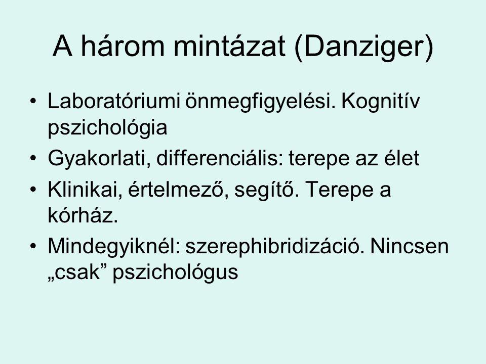 A három mintázat (Danziger) •Laboratóriumi önmegfigyelési.