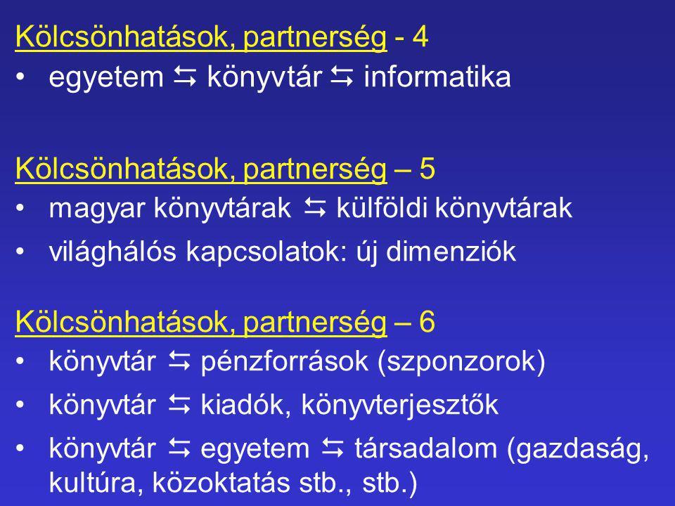 Kölcsönhatások, partnerség - 4 •egyetem  könyvtár  informatika Kölcsönhatások, partnerség – 5 •magyar könyvtárak  külföldi könyvtárak •világhálós kapcsolatok: új dimenziók Kölcsönhatások, partnerség – 6 •könyvtár  pénzforrások (szponzorok) •könyvtár  kiadók, könyvterjesztők •könyvtár  egyetem  társadalom (gazdaság, kultúra, közoktatás stb., stb.)