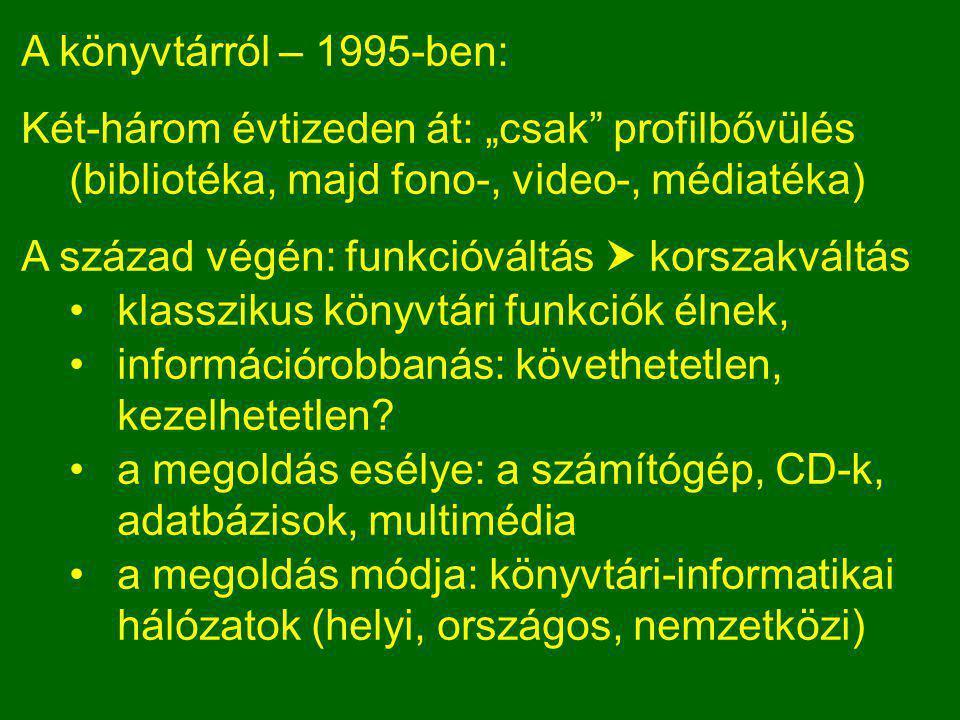 """A könyvtárról – 1995-ben: Két-három évtizeden át: """"csak profilbővülés (bibliotéka, majd fono-, video-, médiatéka) A század végén: funkcióváltás  korszakváltás •klasszikus könyvtári funkciók élnek, •információrobbanás: követhetetlen, kezelhetetlen."""