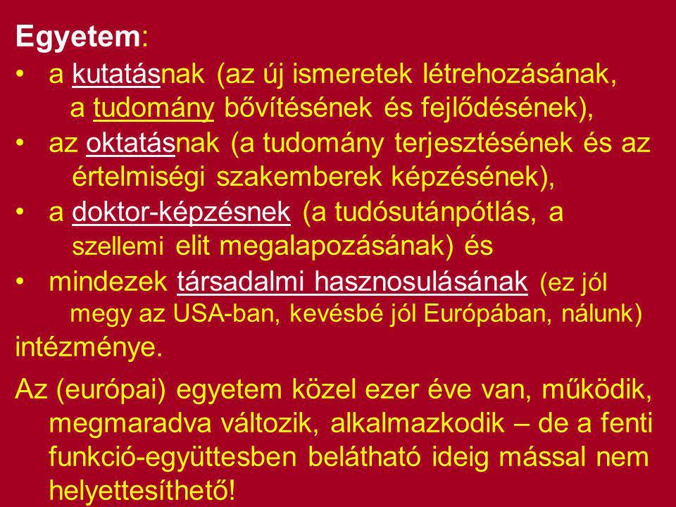 Egyetem: •a kutatásnak (az új ismeretek létrehozásának, a tudomány bővítésének és fejlődésének), •az oktatásnak (a tudomány terjesztésének és az értelmiségi szakemberek képzésének), •a doktor-képzésnek (a tudósutánpótlás, a szellemi elit megalapozásának) és •mindezek társadalmi hasznosulásának (ez jól megy az USA-ban, kevésbé jól Európában, nálunk) intézménye.