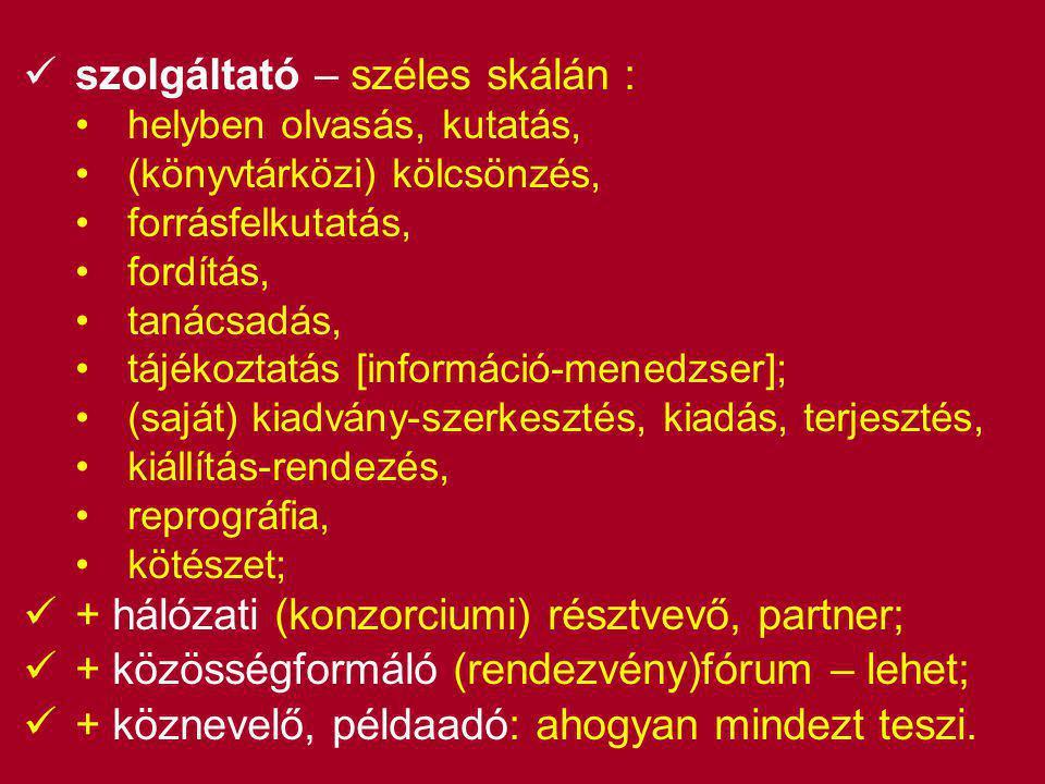 szolgáltató – széles skálán : •helyben olvasás, kutatás, •(könyvtárközi) kölcsönzés, •forrásfelkutatás, •fordítás, •tanácsadás, •tájékoztatás [információ-menedzser]; •(saját) kiadvány-szerkesztés, kiadás, terjesztés, •kiállítás-rendezés, •reprográfia, •kötészet;  + hálózati (konzorciumi) résztvevő, partner;  + közösségformáló (rendezvény)fórum – lehet;  + köznevelő, példaadó: ahogyan mindezt teszi.