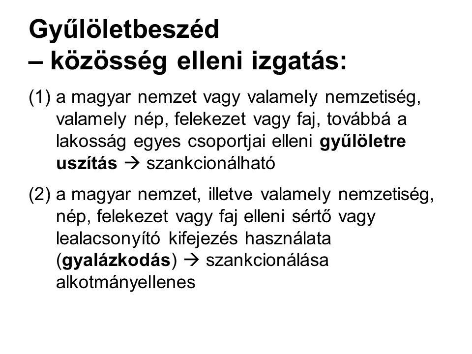 Gyűlöletbeszéd – közösség elleni izgatás: (1)a magyar nemzet vagy valamely nemzetiség, valamely nép, felekezet vagy faj, továbbá a lakosság egyes csop