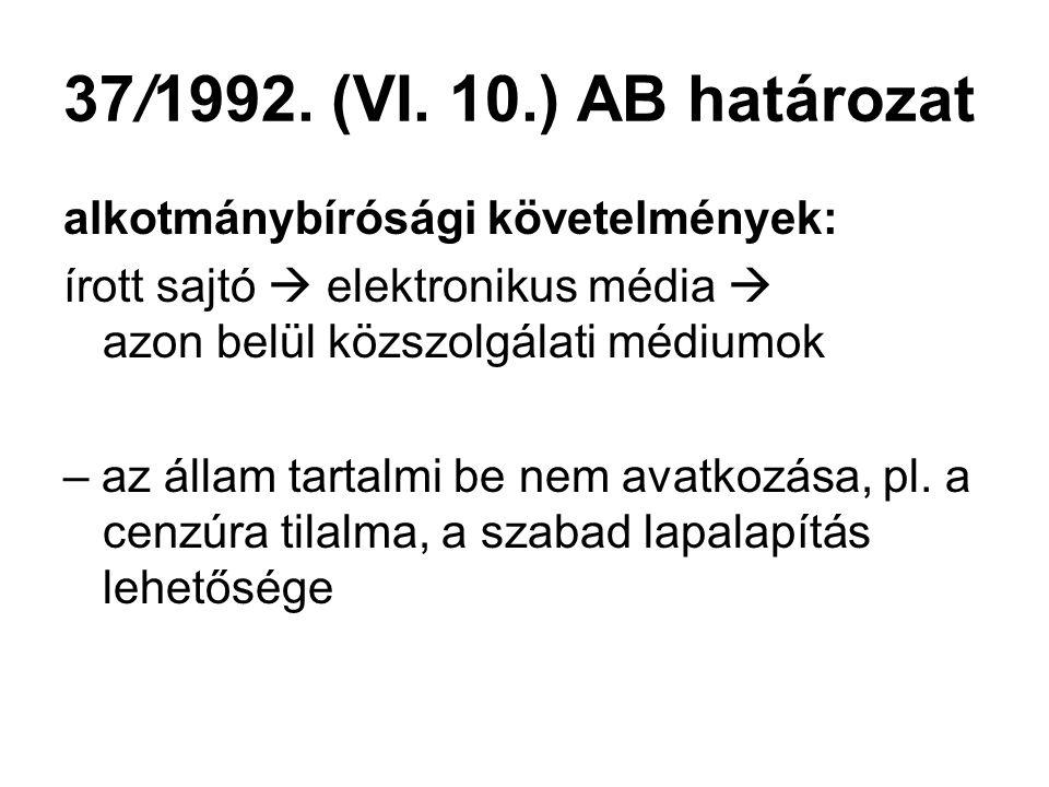 37/1992. (VI. 10.) AB határozat alkotmánybírósági követelmények: írott sajtó  elektronikus média  azon belül közszolgálati médiumok – az állam tarta