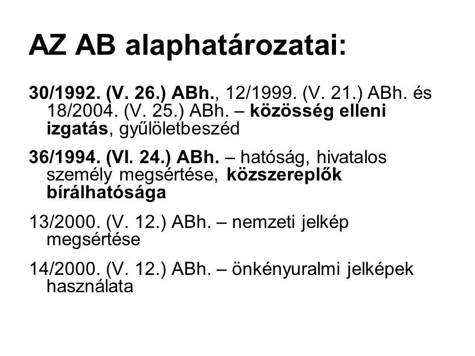 AZ AB alaphatározatai: 30/1992. (V. 26.) ABh., 12/1999. (V. 21.) ABh. és 18/2004. (V. 25.) ABh. – közösség elleni izgatás, gyűlöletbeszéd 36/1994. (VI