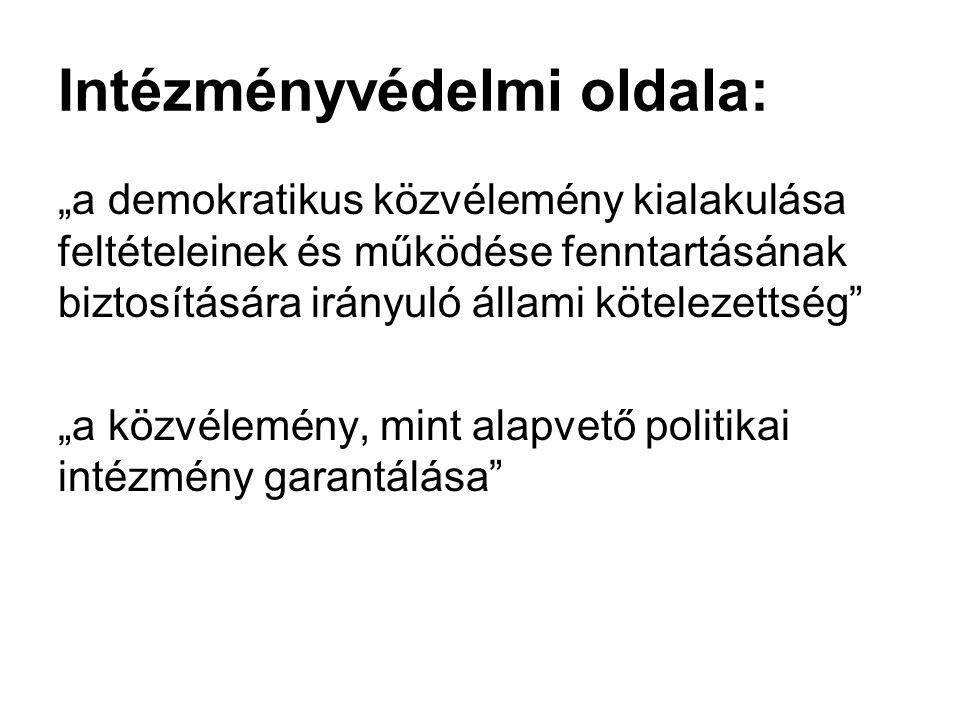 """Intézményvédelmi oldala: """"a demokratikus közvélemény kialakulása feltételeinek és működése fenntartásának biztosítására irányuló állami kötelezettség"""""""