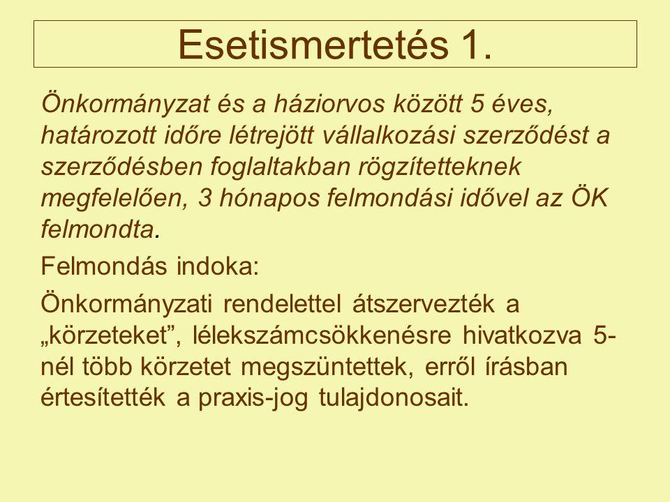 Esetismertetés 1. Önkormányzat és a háziorvos között 5 éves, határozott időre létrejött vállalkozási szerződést a szerződésben foglaltakban rögzítette