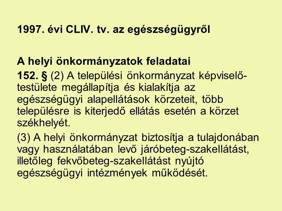 1997. évi CLIV. tv. az egészségügyről A helyi önkormányzatok feladatai 152. § (2) A települési önkormányzat képviselő- testülete megállapítja és kiala