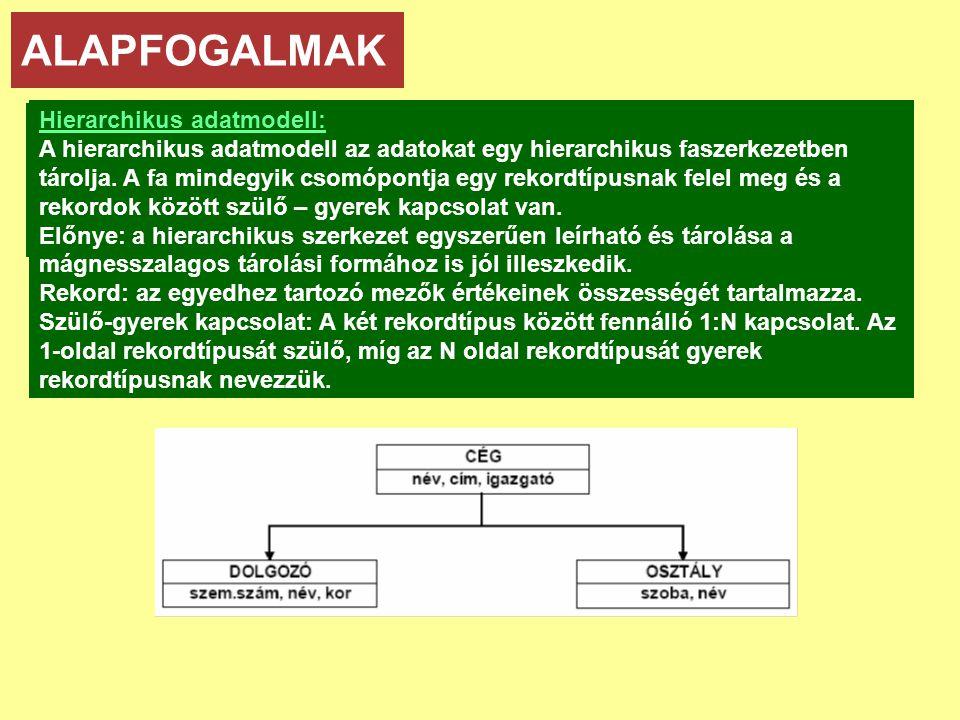 ALAPFOGALMAK Adatmodellek: • hierarchikus • hálós • relációs • objektum-orientált Hierarchikus adatmodell: A hierarchikus adatmodell az adatokat egy hierarchikus faszerkezetben tárolja.