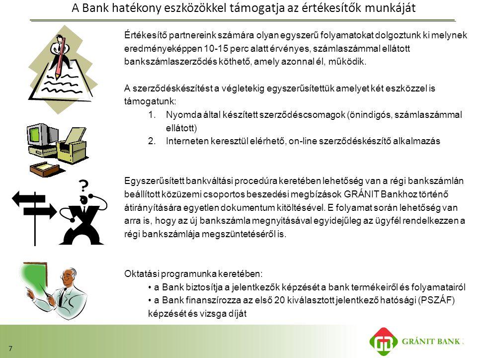 7 A Bank hatékony eszközökkel támogatja az értékesítők munkáját Értékesítő partnereink számára olyan egyszerű folyamatokat dolgoztunk ki melynek eredm
